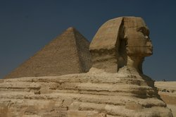 The Sphinx with Khufu�s Pyramid in the background