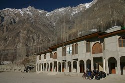 Schools out - an open air class room in the Hunza Valley