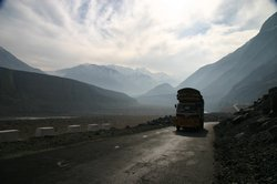 Trucks continually plod up and down the KKH