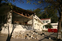The PTDC hotel bears scars from the earthquake