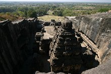 The majestic Kailasa Temple cut into the rock at Ellora