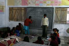 Reading and writing lesson at Udaan residential school