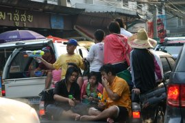 Joining in the watery fun for Songkran, Chiang Mai