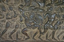 A part of the amazing Bas-relief that surrounds the entire Angkor Wat