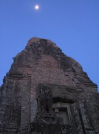 The moon shines bright above Pre Rup