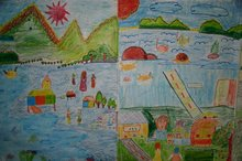 The colourful pictures drawn by the children of the community