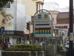 A pollution meter in Medan, which seems to be broken
