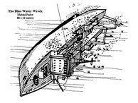 A drawing of the Blue Water Wreck as she now lies