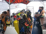 Kit loaded onboard and heading to the first dive site