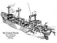 A drawing of the Cement Wreck as she now lies