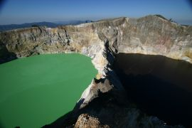 The turquoise and brown lakes at Kelimutu