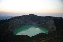 The turquoise lake and brown lake just peeking from behind