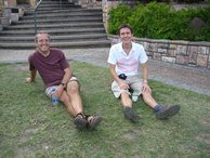 Rich and Alex have a well earned rest after climbing Mt. Cootha